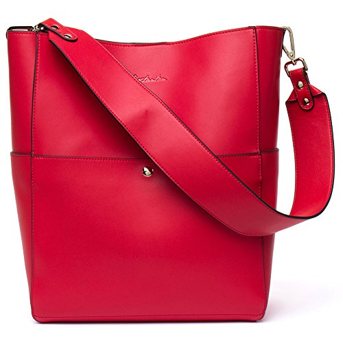 BOSTANTEN Women's Leather Designer Handbags Tote Purses Shoulder Bucket Bags Red - Extra Large Bucket