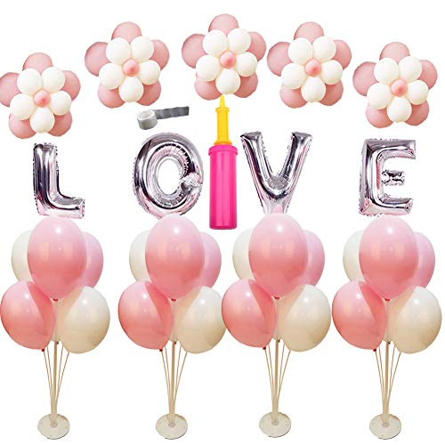 4 Sets of Clear Balloon Stand Kit with 7 Sticks 7 Cups and 1 Base Table Desktop Holder Balloon Decoration for Birthday Party Wedding Party Event with 1 - Centerpiece Kit