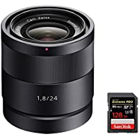 Sony SEL24F18Z Carl Zeiss 24mm f/1.8 E-Mount Lens w/ Sandisk Extreme PRO SDXC 128GB UHS-1 Memory Card