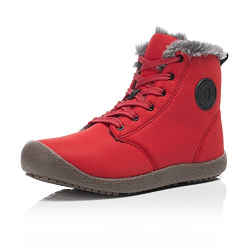 Easy Lace Up Red Boots (Men Snow Boots Women Fur Lined Ankle Sneakers High Top Winter Shoes Lace Up(Red,38))
