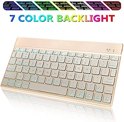 4fdc701885f Wireless Bluetooth Keyboard for iPad,Portable Slim 7-Colors Backlit Keyboard ,Compatible with iPad Pro 11/12.9,iPad Air,iPad Mini,iPhone and Other ...