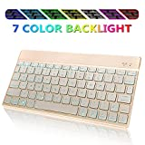 Wireless Bluetooth Keyboard for iPad - Portable Slim 7-Colors Backlit Keyboard - Compatible with iPad Pro 11 12.9 - iPad Air - iPad Mini - iPhone and Other Smartphones - Built in Rechargeable Battery-Gold