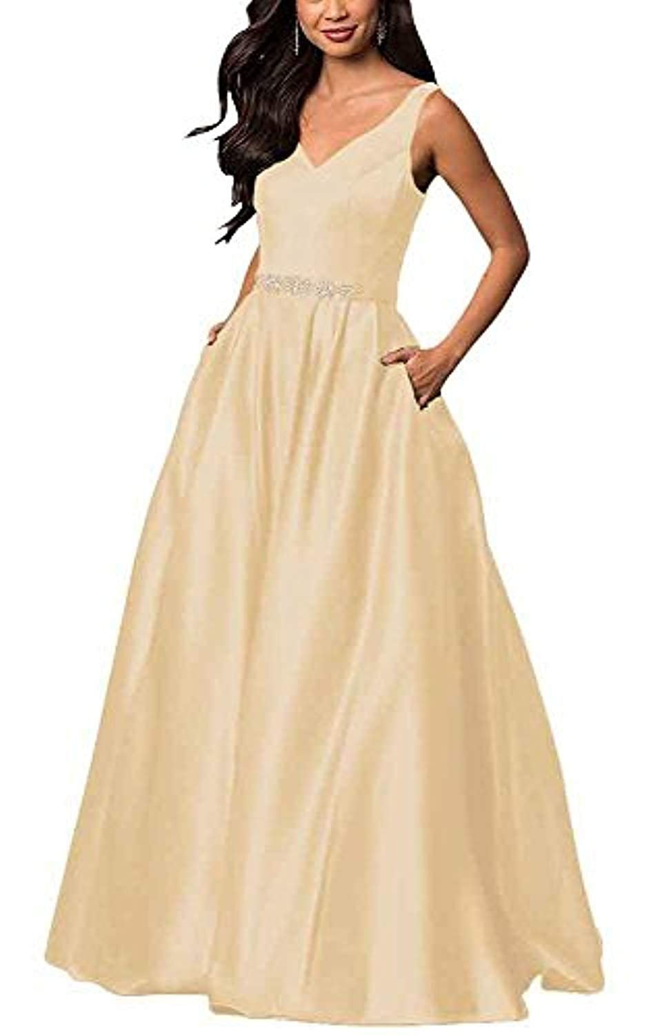 Champagne YHFDRESS Vintage Beaded A Line Evening Dresses V Neck Ruffles Satin Formal Party Gowns