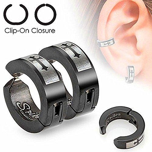 (Pair of Die-Cut Crosses Laser Etched 316L Surgical Steel Black Non-Piercing Clip-On Earrings)