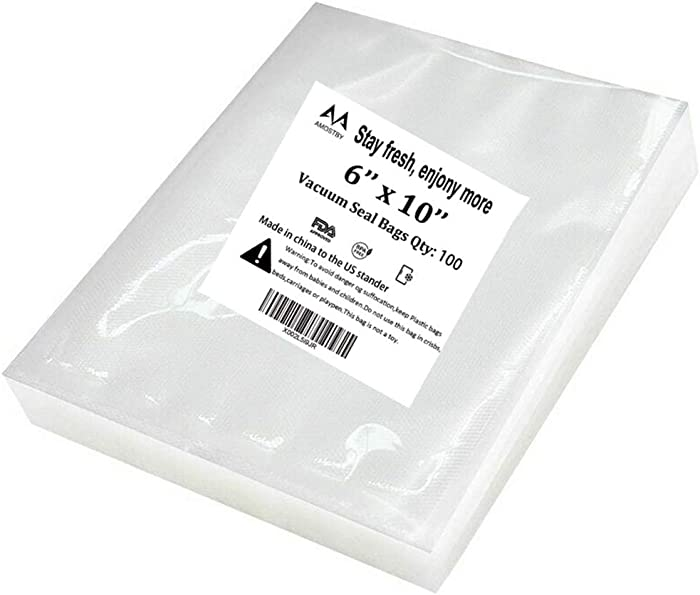 AMOSTBY Vacuum Sealer Bags 100 Pint 6x10 Inch for Food Saver,Seal a Meal,Great for vac storage,Meal Prep or Sous vide cooking