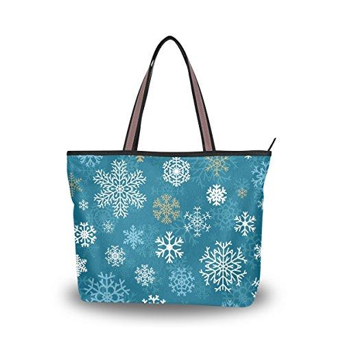 - JSTEL Women Large Tote Top Handle Shoulder Bags Christmas Snowflakes Blue Patern Ladies Handbag L