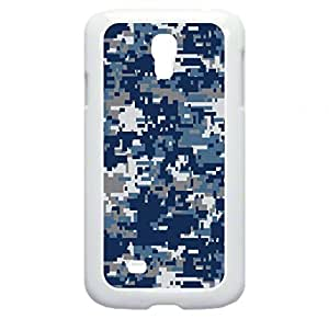 Blue and Grey Digital Camo - Case for the Galaxy S4 i9500 -Hard White Plastic Outer Shell with Inner Soft Black Rubber Lining