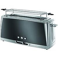 Russell Hobbs Grille-Pain, Toaster Spécial Baguette Luna, Technologie Cuisson Rapide, Chauffe Viennoiserie Inclus - Gris 23251-56