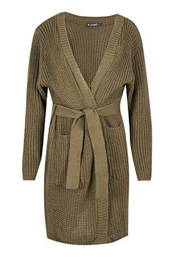 Be Jealous femmes COMPLET manche chute d'eau femmes avec ceinture épais tricoté surdimensionné bouffant Tricot Cardigan - Chameau, Plus Size (UK 20/22)
