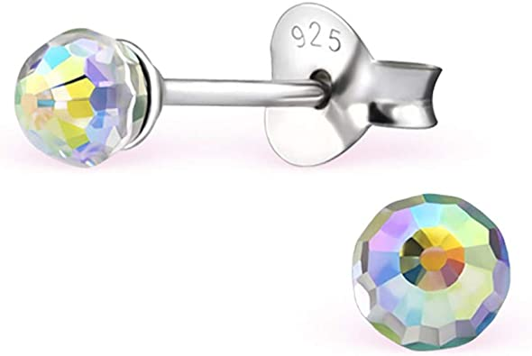 Girls Rainbow Butterfly Crystal Ear Studs 925 Sterling Silver
