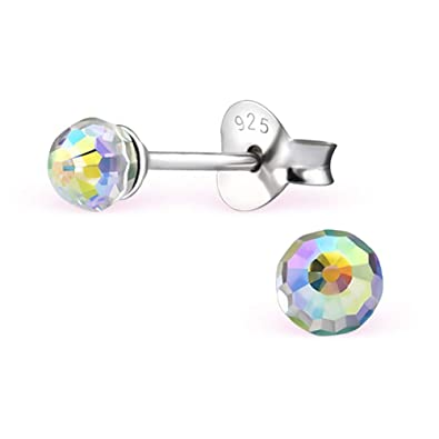 a5c840fdb57e2 Crystal Disco Ball earrings : Sterling Silver round ear studs with crystal  from Swarovski (Aurora Borealis): 925 Sterling Silver earrings for women ...