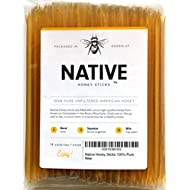 Native Honey Sticks | 100% Real, Uncut, Pure, Unfiltered, Natural, American Honey Straws | 100 Pack of Local, U.S. Grade A Original Clover Honey Stix | Great for Tea, Kids Snacks, Travels and Gifts