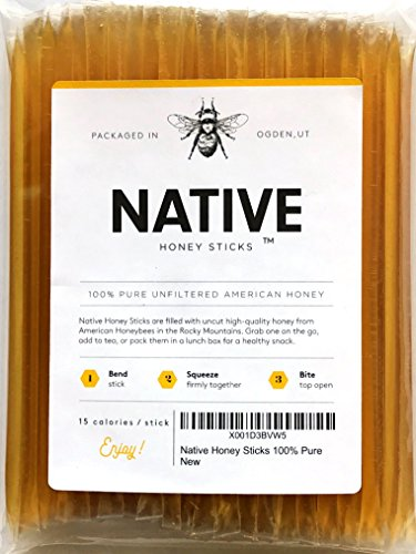 Native Honey Sticks (100 Pack) | Real, Uncut, Pure, Unfiltered, Natural, American Honey Straws | 100% Local, U.S. Grade A Original Clover Honey Stix | Great for Tea, Kids Snacks, Travels and Gifts ()
