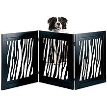 Kleeger KLG-195 Wooden Pet Gate, Foldable & Freestanding, For Indoor Home & Office Use. Keeps Pets Safe [ Zebra Pattern Decorative Design]. Easy Set Up, No Tools Required - Black