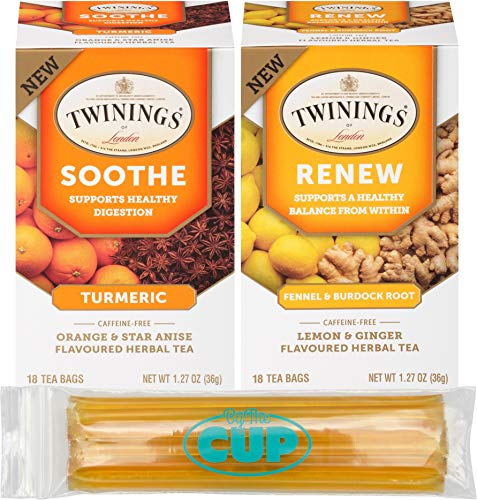 (Twinings Herbal Tea Bags Variety - 2 Flavors, 18 Count Box of Each Renew and Soothe with Fennel, Turmeric and Burdock Root and By The Cup Honey Sticks)