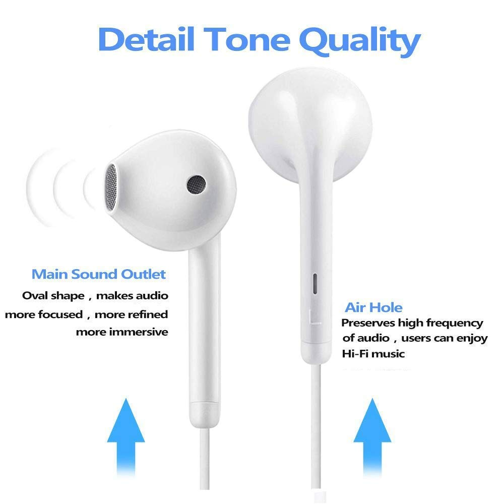 Compatible with iPhone XS//XS Max//XR//X//8//8 Plus//7//7 Plus Plug and Play Earbuds Headphone Wired Earphones Headset with Microphone and Volume Control