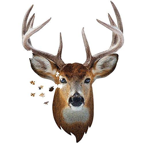 I Am Buck 500 Piece Puzzle - Unique Head-shaped Jigsaw w/ Fun Buck Facts