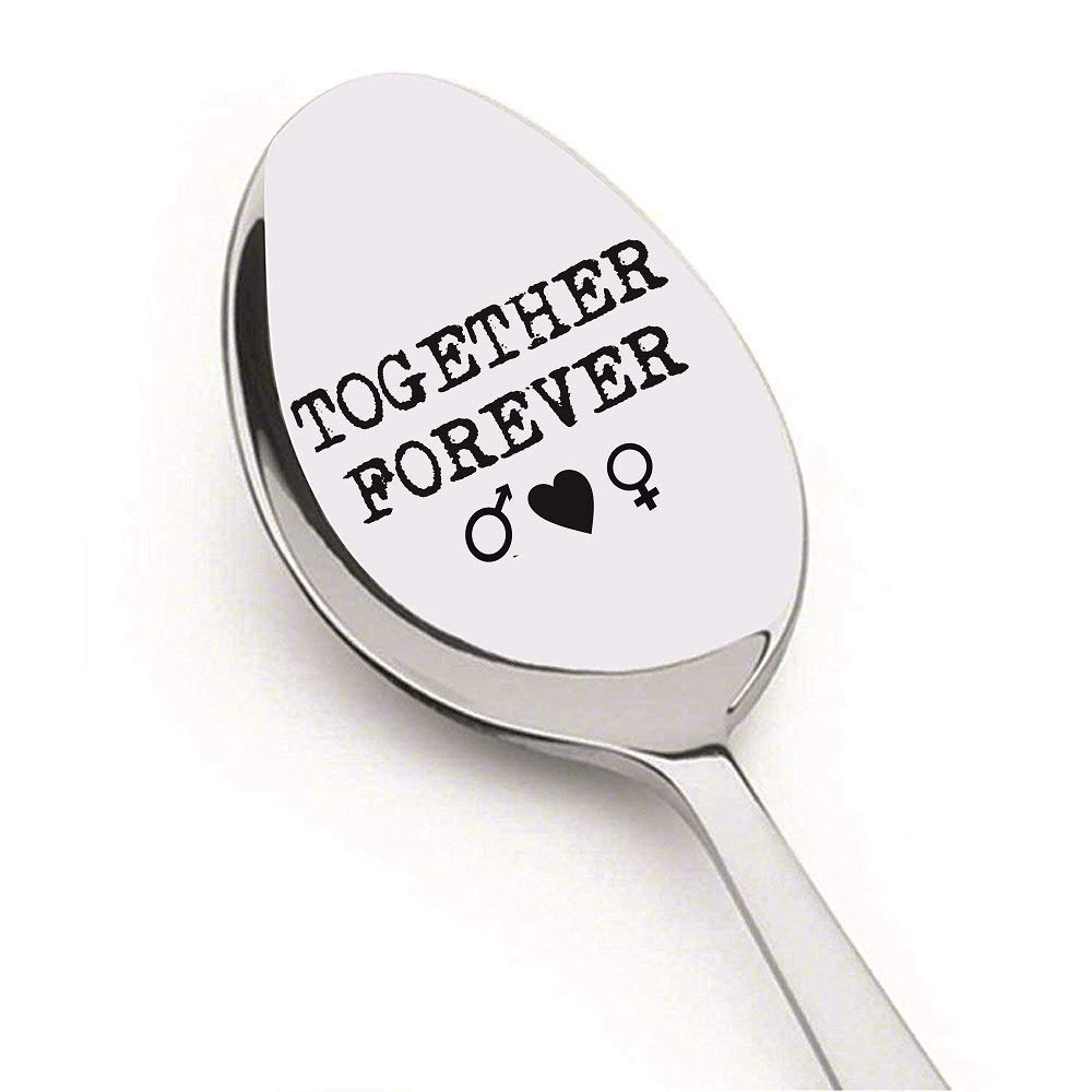 Engraved Spoon Together Forever by Weenca-Stamped Stainless Steel Spoon-Best Love Present for Your Boyfriend/Girlfriend/Husband or Wife-Lifetime Guarantee