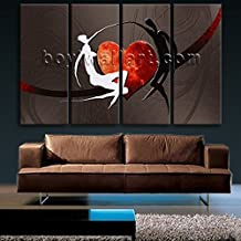 Extra Large Modern Abstract Design Home Decor Wall Art Print Canvas Love Dancing, Oversized Abstract Wall Art, Living Room, Wood Bark