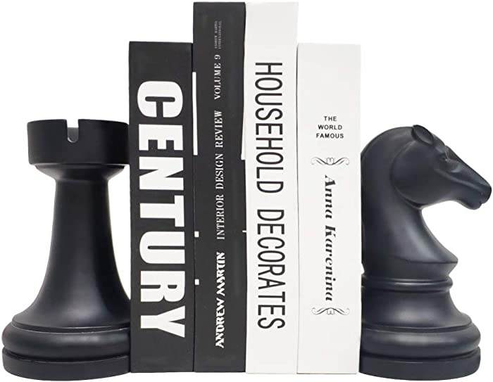 JSYS Bookends, Universal Economy Decorative Bookends, Heavy Book Ends Supports for Books, 6.7x4.1x3.5inch, Black,1Pair/2Piece (Chess Piece Bookends)