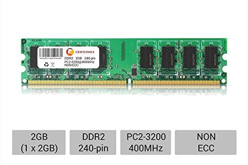- 2GB STICK DIMM DDR2 NON-ECC PC2-3200 400MHz 400 MHz DDR-2 DDR2 2G 2 g Ram Memory by CENTERNEX