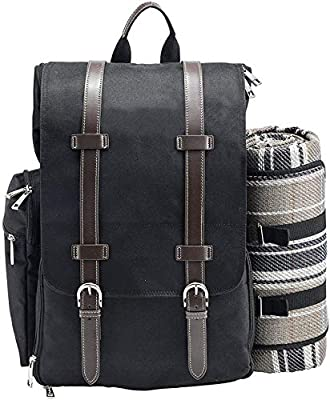 Picnic Backpack for 2   Picnic Basket   Stylish All-in-One Portable Picnic Bag with Complete Cutlery Set, Stainless Steel S/P Shakers   Picnic Blanket Waterproof Extra Large  Cooler Bag for Camping