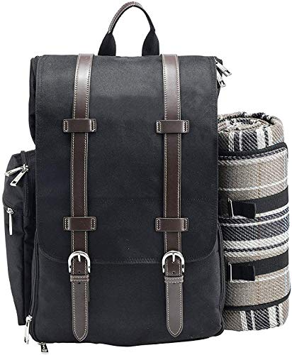 Picnic Backpack for 2 | Picnic Basket | Stylish All-in-One Portable Picnic Bag with Complete Cutlery Set, Stainless Steel S/P Shakers | Picnic Blanket Waterproof Extra Large| Cooler Bag for ()