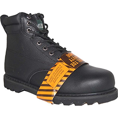 KRAZY Safety Steel Toe LEATHER 6 Inch Black Water Resistant Men's Work Boot Size 15 ()