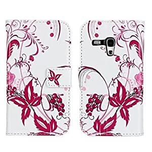 JOE Flower Printed PU Leather Full Body Case with Strap and Sticker for Samsung Galaxy S3 Mini I8190