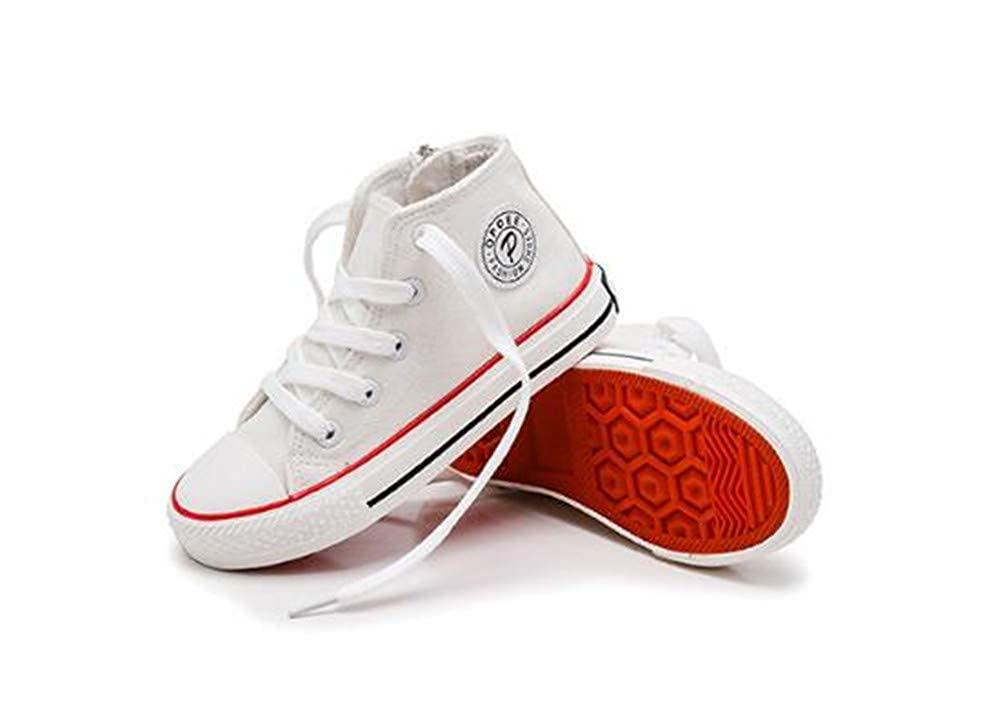 Girls Classic Lace-Up High-Top Canvas Shoes Sneakers