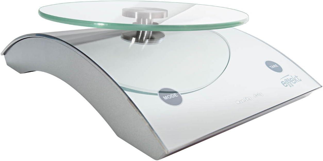 charge max lecture /à 1 g 5 kg Wedo 0485501 Balance postale /électronique universelle Effekt 5000 avec plateau en verre Argent