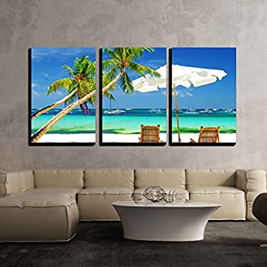 wall26 - 3 Piece Canvas Wall Art - Tropical Holidays/Vacation at the Beach with Palm Trees - Modern Home Decor Stretched and Framed Ready to Hang - 24 x36 x3 Panels