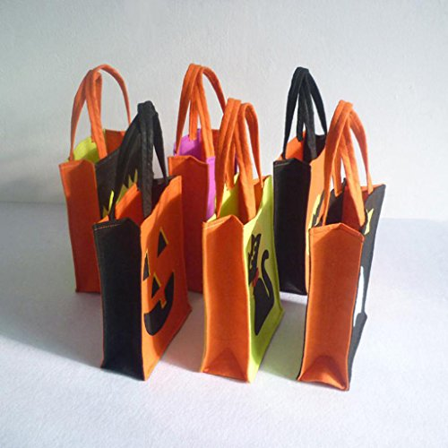 Jili Online Pieces of 6 Non-woven Fabric Mixed Style Halloween Holiday Trick or Treat Loot Tote Bags with Handle Home Party Gift Bags by Jili Online (Image #9)