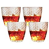 Circleware Hive Double Old Fashioned Whiskey Juice Drinking Glasses, Set of 4, 13 Ounce