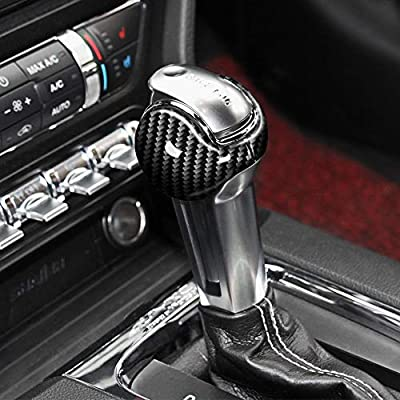 AIRSPEED Interior Gear Shift Knob Cover Sticker for Ford Mustang Accessories 2015-2020, Carbon Fiber: Automotive