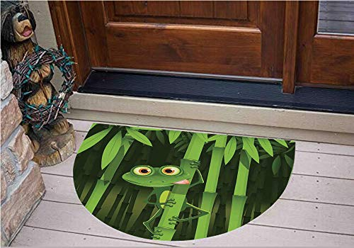 3D Semicircle Floor Stickers Personalized Floor Wall Sticker Decals,Friendly Fun Frog on Stem of The Bamboo Jungle,Kitchen Bathroom Tile Sticker Living Room Bedroom Kids Room Decor Art Mural - Frogs Fun Name Tags