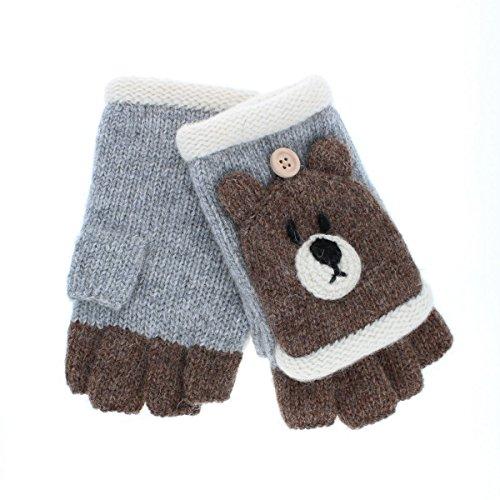 (ヨークス) YORKS 動物シリーズ レディース ガールズ アニマル ほっこり ニット手袋 くま 指切りタイプ フリーサイズ