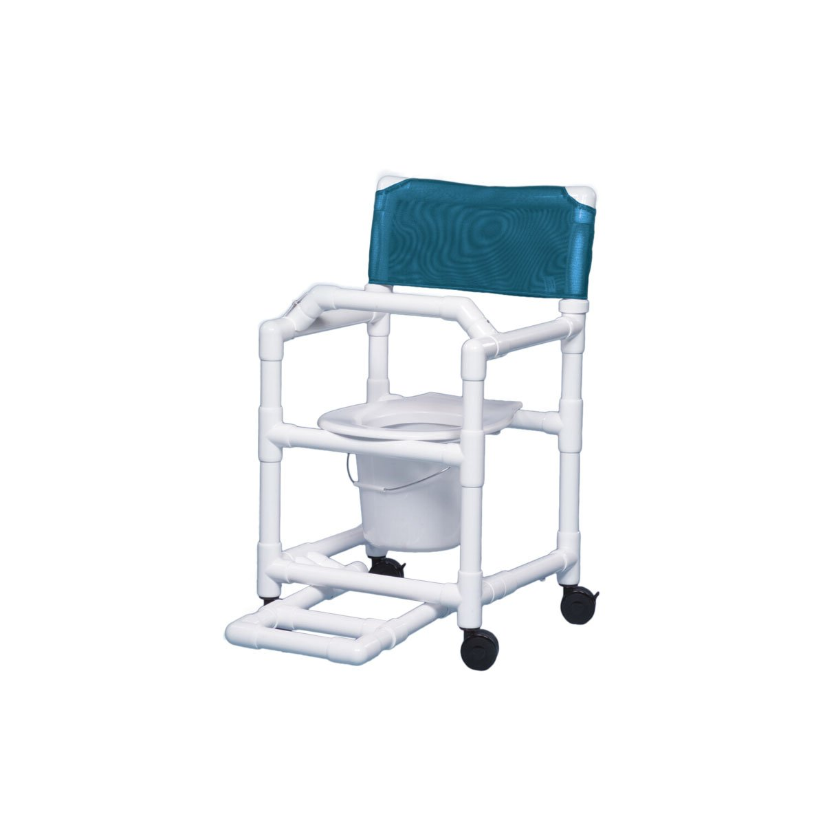 Shower Chair Commode with Footrest & Lap Bar 16'' Clearance-Teal