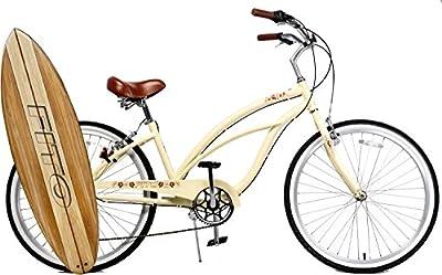 "Anti-Rust & Light Weight Aluminum Alloy Frame, Fito Marina Alloy 7-speed for women - Vanilla, 26"" wheel Beach Cruiser Bike Bicycle"