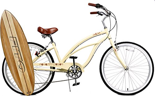 Fito Anti-Rust & Light Weight Aluminum Alloy Frame, Marina Alloy 7-Speed for Women - Vanilla, 26