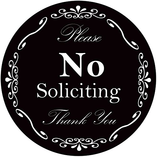 No Soliciting Sign for Home and Business | Stylish Waterproof 4 Inch Round Stickers | Outdoor Indoor Use | Looks Great with Door Knockers and (Knocker Bells)