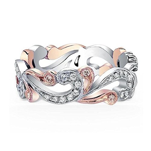 TEMEGO Ocean Wave Ring for Women,2 Tone Rose Gold Silver Vintage Victorian Filigree Small CZ Ring