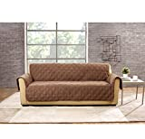 76 X 35 Inch Diamond Pattern Brown Color Non-slip Sofa Cover, Light Brown Geometric Design Furniture Protector From Pets Children Spills Stains Relaxed Fit T-cushion Texture Elegant, Polyester