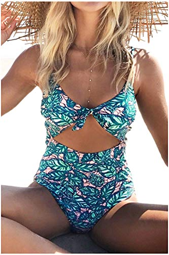 Cupshe Fashion Women's Lush Leaves Print Back Hook Closure Cut Out at Length One-Piece Swimsuit Beach Swimwear Bathing Suit, Green, Small