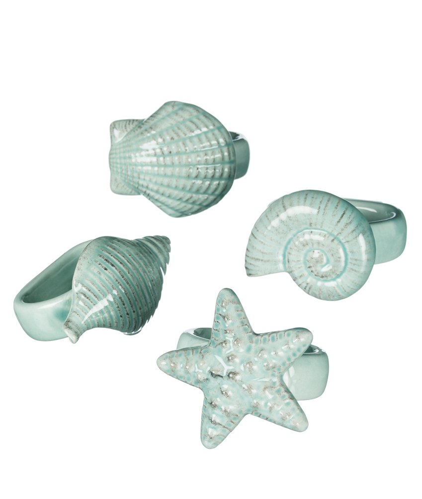 Set of 4 Assorted Sullivans Turquoise Ceramic Sea Shell Napkin Rings