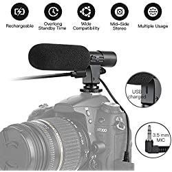 Rechargeable Camera Video Microphone SmilePowo Photography Interview Stereo Microphone MIC (3.5mm Interface) for Sony Canon Nikon Panasonic DSLR Camera DV Camcorder (NOT for Canon T5i T6 Sony A6000)