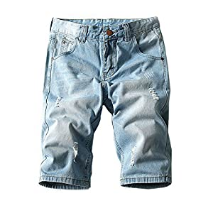 Men's Summer Light Weight Blue Short Jeans Slim Brush Denim Shorts