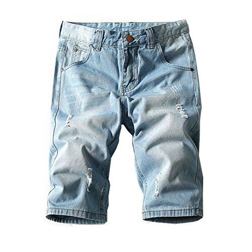 Hzcx Fashion Men's Summer Light Weight Blue Short Jeans Slim Brush Denim Shorts (Men Summer Shorts)