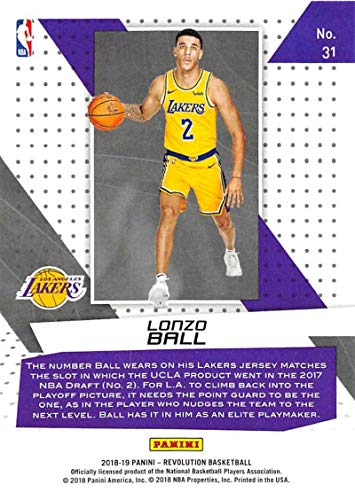 91abc3cdaa5 Amazon.com: 2018-19 Revolution Vortex Basketball #31 Lonzo Ball Los Angeles  Lakers Official NBA Trading Card By Panini: Collectibles & Fine Art