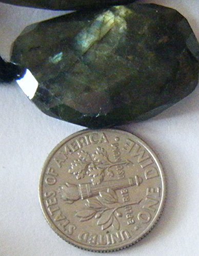 Focal Bead, Genuine Faceted Large Flat Labradorite Nugget 1